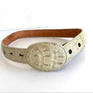 Vintage Mexican Reptile Cream Leather Belt